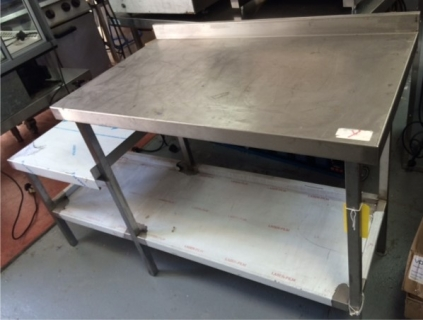 NEW - Stainless Steel Wall Bench with Lower Left Shelf