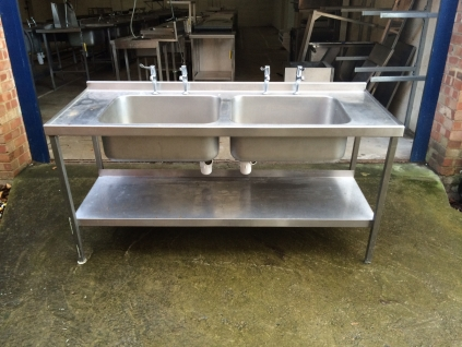 Double Bowl Sink, No Drainer with Undershelf - 1700mm