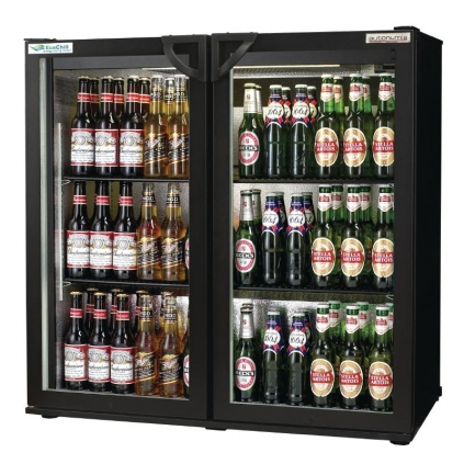 Autonumis EcoChill Double Hinged Door Maxi Back Bar Cooler, Black
