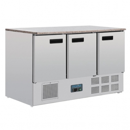Polar 3 Door Refrigerated Counter with Marble Work Top 368Ltr