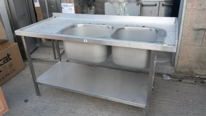 Double Bowl L/H Drain with Undershelf - 1600mm