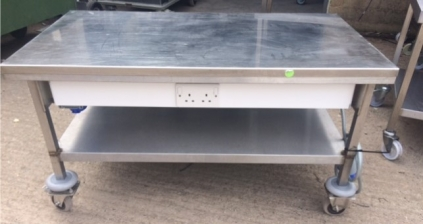 Low Table with Plug Sockets on Castors - 1200mm