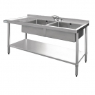 Vogue Stainless Steel Sink Double Bowl Left Hand Drainer 1500mm