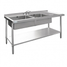 Vogue Stainless Steel Sink Double Bowl Right Hand Drainer 1500mm