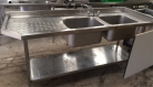 NEW - Double Bowl Sink L/H Drainer with Undershelf - 2000mm
